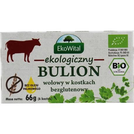 Ekologiczny bulion wołowy w kostkach bezglutenowy 66g EkoWital