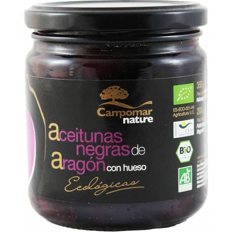 Ekologiczne Czarne Oliwki Aragon z Pestką 350g Campomar Nature