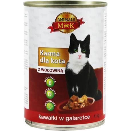 Karma dla kota z wołowiną 415g Animals MK