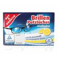 Chusteczki niemieckie nawilżane do okularów Cytrynowe 54szt